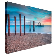 The Old Derelict West Pier In Brighton At Sunset | 12x16 Canvas Wall Art Print - Long Lasting High Quality Wooden Frames - intl