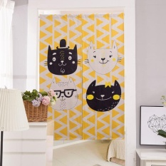 Thickened Cotton Linen Door Curtain Cartoom Bathroom Kitchen Hanging Room Dividers Curtains Home Decorations 85x90CM - intl