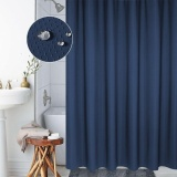Where Can You Buy Thickening Waterproof And Mildew Curtain Honeycomb Texture Polyester Cloth Shower Curtain Bathroom Curtains Size 180 180Cm Dark Blue Intl