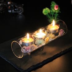 Three-hole HIGH-TEMPERATURE resistant glass candle holder