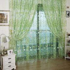 tinpsy Roman Rod Type Village Garden Style Lovely Flower Drapery Sheer Type Tulle Curtain (Green) - intl