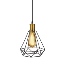 Tomshine 110-240V 0-60W Industrial Vintage Cage Pendant Light Iron Art Diamond Pyramid Wrought Ceiling Lamp for Restaurant Bedroom Living Room Studio Loft Aisle - intl