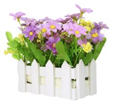 tongzhi Artificial Flowers Small Potted Plant Fake Chrysanthemum Set In Picket Fence,blue