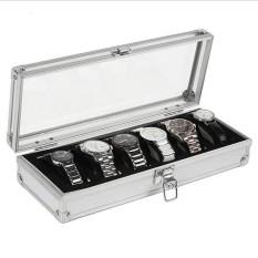 Toprank 6 Slots Jewelry Watch Display Box Collection Case Holder Organizer Metal Buckle - intl