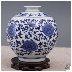 Where Can I Buy Traditional Blue And White Round Vase Porcelain