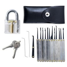 Transparent Practice Padlocks With 12 Pcs Unlocking Lock Pick Set (black) By Wripples.