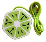 Best Deal Travel Extension Cord With 4 Universal Sockets And 4 Usb Ports Apple Green Export