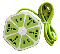 Buy Travel Extension Cord With 4 Universal Sockets And 4 Usb Ports Apple Green Export Oem