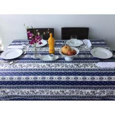 New Treated 100 Cotton French Tablecloth Provence Dark Blue Strip