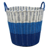 Get Cheap Tri Colour Woven Laundry Basket Blue