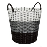 Tri Colour Woven Laundry Basket Grey On Line