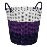 Tri Colour Woven Laundry Basket Purple Sale
