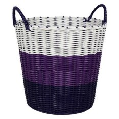 Buy Tri Colour Woven Laundry Basket Purple On Singapore