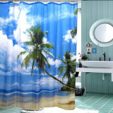 Sale Tropical Palm Tree Summer Beach Fabric Polyester Shower Curtain Bathroom Deco China
