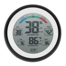 Ts-S93 Round Lcd Touchscreen Thermometer Humidity Monitor Hygrometer(black) - Intl By Crystalawaking.