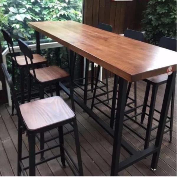 TSBT001 Solid Wood High Bar Table (L120xW50xH105, 5cm Thickness), TSBT