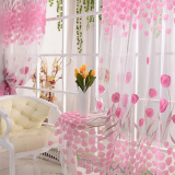 Top Rated Tulip Flower Floral Tulle Voile Window Curtain Drape Sheer Decor Fabric Transparent Sheer Living Room Screening Home Decoration 200X100Cm Intl