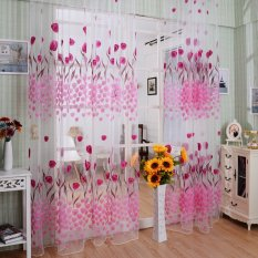 Tulip Flower Pattern Printed Window Curtains 100*200 CM Living Room Home Decoration Rod Pocket