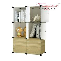 Retail Tupper Cabinet Dark Wood 6 Cubes Storage Cabinet Beauty Collection