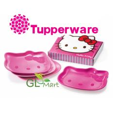 Sale Tupperware Hello Kitty Snack Collection Embossed Plate Set 4Pcs With Gift Box