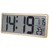 Txl Digital Large Lcd Screen Display Alarm Clock Wall Clock With Date Time Temperature Display Snooze Button Desk Clock For Bedside Yellow Intl Sale