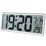 Best Rated Txl Jumbo Digital Large Lcd Screen Display Alarm Clock Wall Clock With Date Time Temperature Display Snooze Button Battery Included Silver Intl