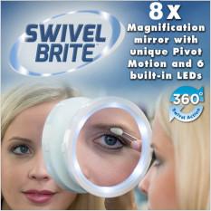 U228 Travel Makeup Mirror LED Lights Swivel Brite Cosmetic 8x Magnifying Glass