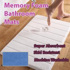 Best Rated Ultra Soft And Super Absorbent Memory Foam Bathroom Mat 1Pc Coral Blue