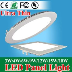 Ultra Thin Led Panel Downlight 3w 4w 6w 9w 12w 15w 18w Round/Square LED Ceiling Recessed Light AC85-265V LED Panel Light(6W Round White) - intl