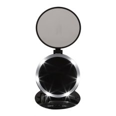 USTORE Portable Size Round Shape Double Sided Desktop LED Makeup Mirror With Light