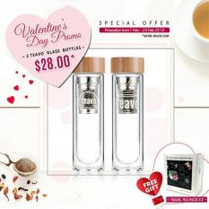 Retail Valentine S Day Promo 2 Teavo 400Ml Glass Bottles With Strainer Free 2 Travel Tea Pack