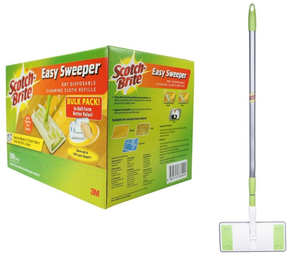 [value Set] 3m™ Scotch-Brite™ Easy Sweeper Plus+ Starter Kit + Easy Sweeper Dry Wiper Bulk Pack (200 Sheets) By 3m Official Store.