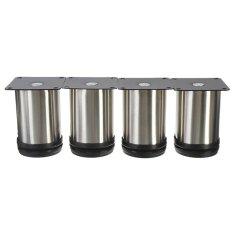 Vinmax 4Pcs Stainless Steel Furniture Cabinet Legs Adjustable Sofa TV Bed Shelf Feet Round Stand Holder 8*5cm - intl
