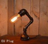 Coupon Vintage Edison Retro Desk Pipe Lamp Industrial Table Home Bar Shop Light Lamp Eu Plug Intl