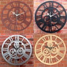 Vintage Gear Mute Wall Clock Wood Handmade Rustic Art Antique Decor Xmas Gift - intl