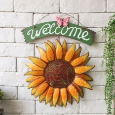 Vintage Hanging Butterfly Sunflower Welcome Sign Sunflower Decor For Door Hanging Home Decor