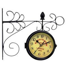 Vintage Retro Double Sided Mediterranean Garden Hallway Outdoor Wall Mount Clock