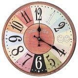 Top Rated Vintage Shabby Chic Style 34Cm Wall Clock Wood Home Bedroom Retro Kitchen Quartz Pattern Nstro Pars Intl