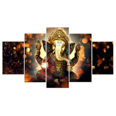 vishine mall- 5Pcs/Set Ganesha Abstract Print Oil Painting Decorative Wall Picture Art 20*30*2+20*40*2+20*50*1
