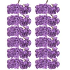 voovrof 12 Bouquets of Artificial Roses Tissue Paper Flowers for Wedding and Home Decor (144pcs, Purple)