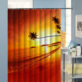 W180Cm X H180Cm Printing The Setting Sun Trees Curtain Bathroom Waterproof Shower Curtains With 12 Hooks Sale