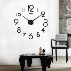 Wall Clock Living Room DIY 3D Home Decoration Mirror Large Art Design BK - intl