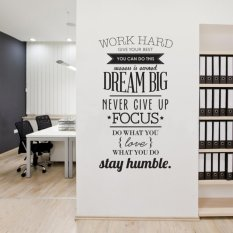 Wall Decals Quotes Work Hard Vinyl Wall Sticker Decorativas Office Home Decoration Wall Art Wall Stickers(size:100cm*50cm) ---black - intl