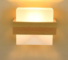 Wall light Nordic minimalist modern hotel bedside lamp creative Japanese real wood LED lights bedroom living room aisle balcony wall lights - intl