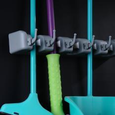 Price Compare Wall Mounted Mop Brush Broom Organizer Holder Storage 5 Rack 6 Hooks Intl