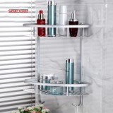 Wall Mounted Two Layers Bathroom Shelf Space Aluminum Towel Washing Shower Basket Bar Shelf Bathroom Accessories Useful Intl Price Comparison