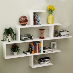 Wall Shelf Set of 1 Book Floating Shelves Storage Creative Background Wall Decoration Frame Bookshelf 130* 88* 15cm Capacity 15 Kg/Each - intl