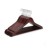 Buy Walnut Wooden Suit Hangers Pack Of 16