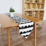 Scandinavian Minimalist Black And White Semi Interval Cotton Table Runner Deal
