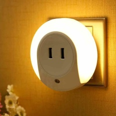 Best Deal Warm Night Light With 2 Usb Charger Eu Plug Multi Use Charger Wall Lamp Intl